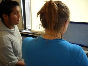 at computer