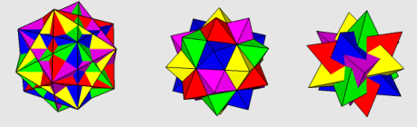 Compounds of Five Cubes, Octahedra, and Tetrahedra