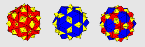 Blue = Icosahedron, Red = Five Cubes, Yellow = Five Octahedra