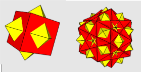 Cube and Octahedron, 5 cubes and 5 Octahedra