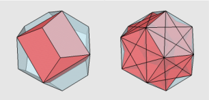 One cube and Five Cubes in a Clear Dodecahedron