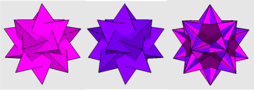 Two different sets of five tetrahedra and their intersection